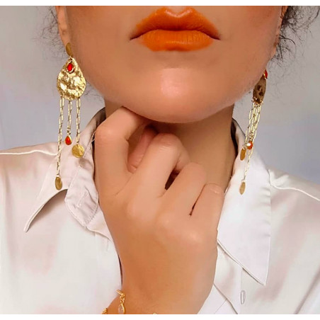 Gold-plated earrings LUNA, red onyx and pendant, front view n°2 | Gloria Balensi