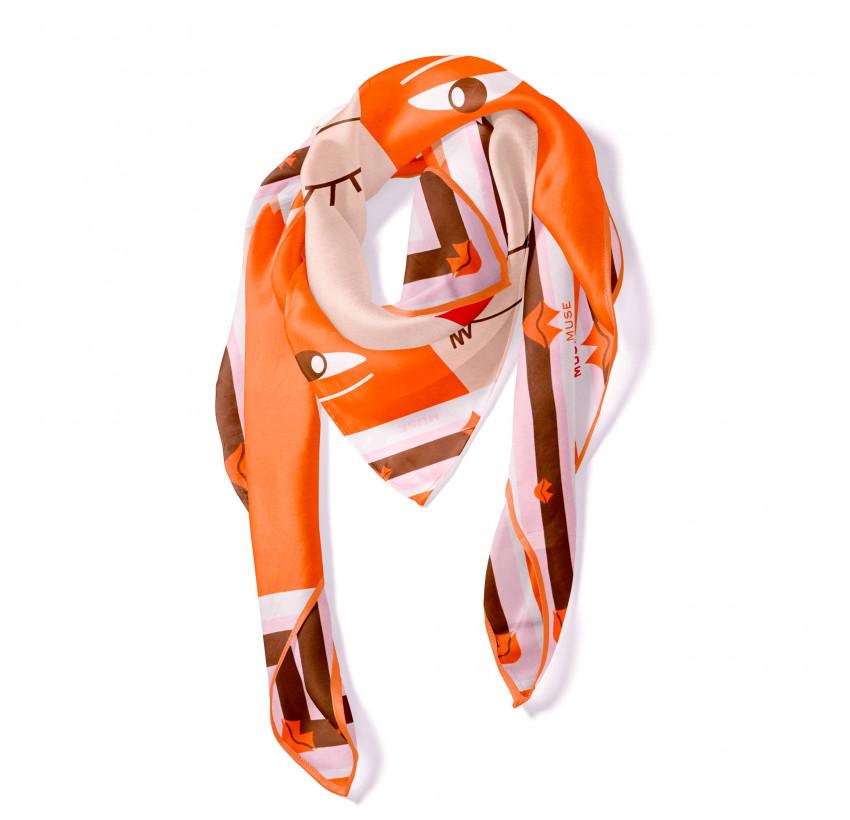 "Orange ""BISOU"" Square scarf, view 2|Gloria Balensi"
