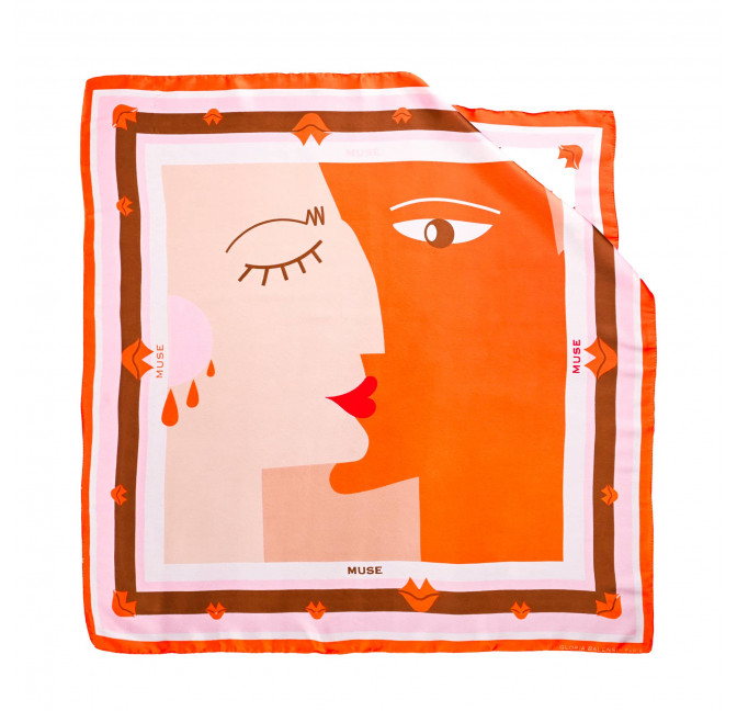 "Orange ""BISOU"" Square scarf, view 1|Gloria Balensi"