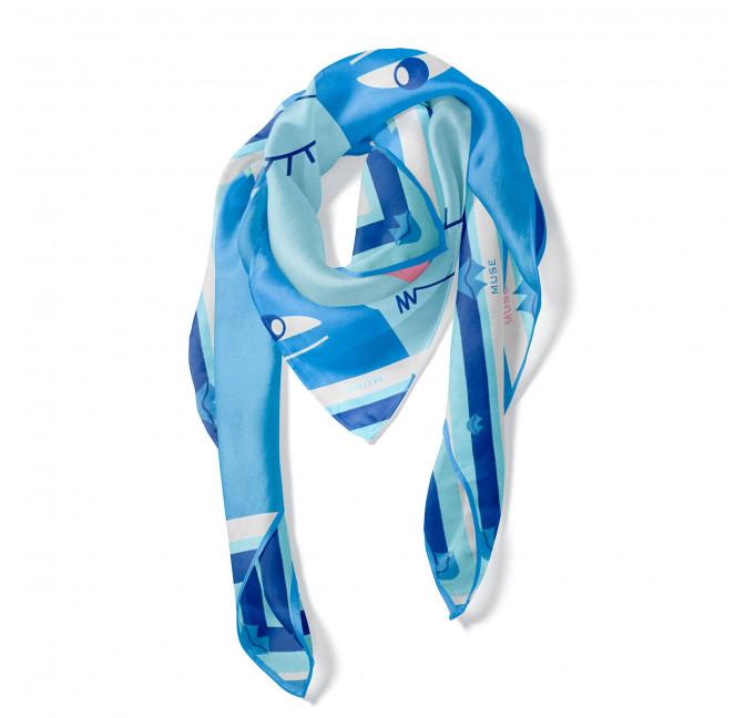 "Blue ""BISOU"" Square scarf, view 2|Gloria Balensi"