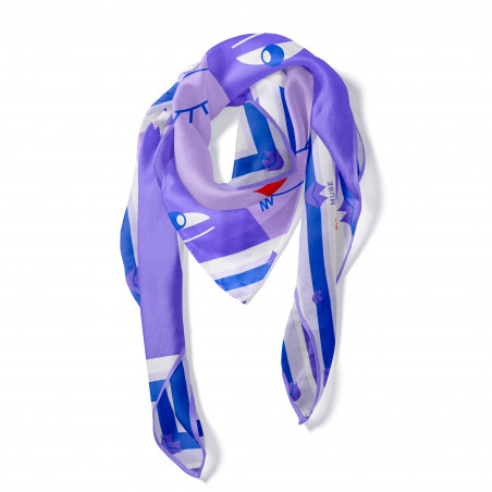 "Purple ""BISOU"" Square scarf, view 2 Gloria Balensi"
