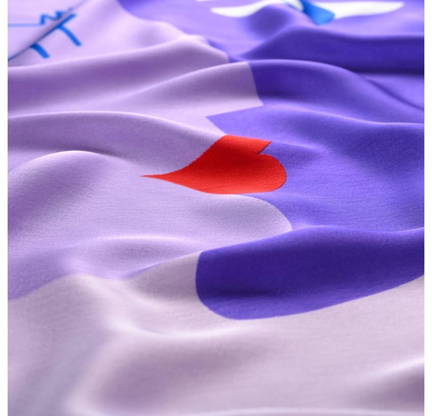 "Purple ""BISOU"" Square scarf, zoom view  Gloria Balensi"