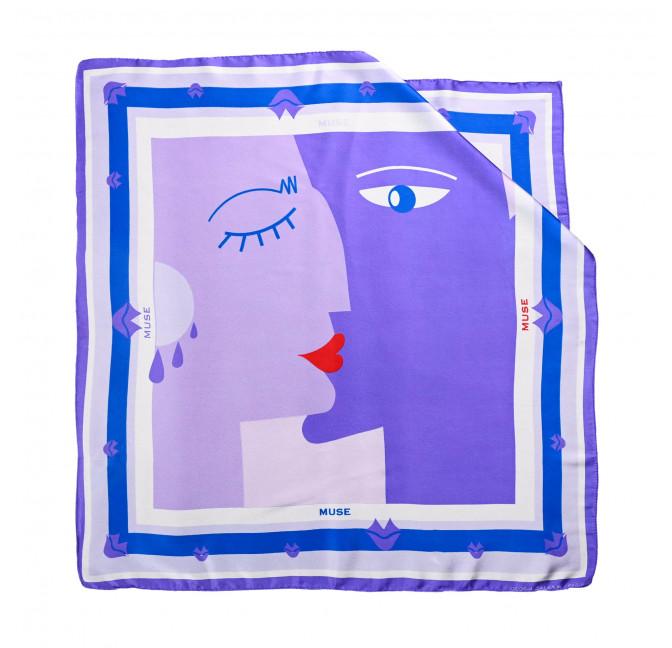 "Purple ""BISOU"" Square scarf, view 1|Gloria Balensi"