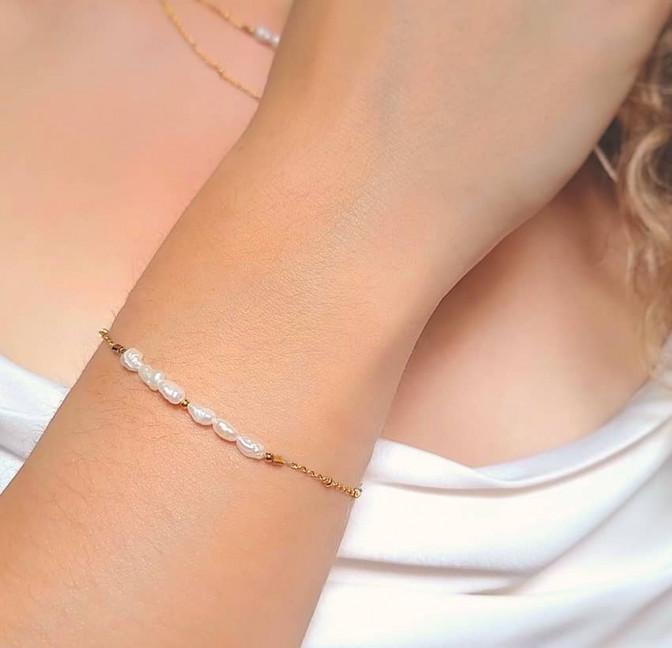 Bracelet chaîne plaqué or avec perles de culture irrégulières, vue 2  | Gloria Balensi