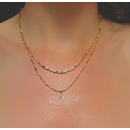Gold-plated chain necklace with irregular pearls, view 2  Gloria Balensi