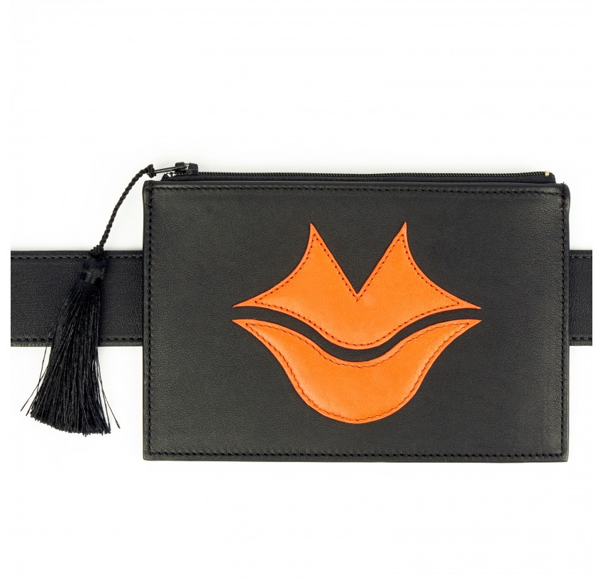 Black and orange calfskin and lambskin leather women's clutch belt GLORIA BALENSI, front view with belt