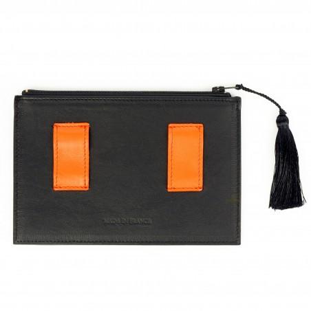 Black and orange calfskin and lambskin leather women's clutch belt GLORIA BALENSI, back view