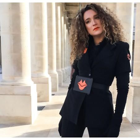 Black and orange calfskin and lambskin leather women's clutch belt GLORIA BALENSI, worn view