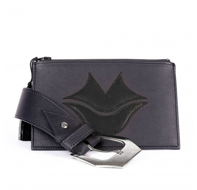 Black and orange calf and lambskin leather women's clutch belt GLORIA BALENSI, front view with belt buckle