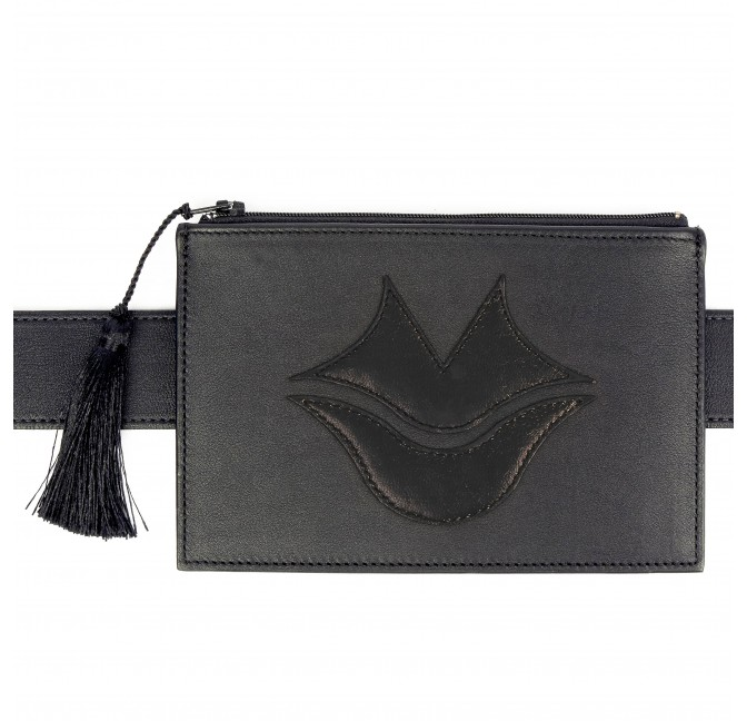 Black calfskin and lambskin leather women's clutch belt GLORIA BALENSI, front view with belt