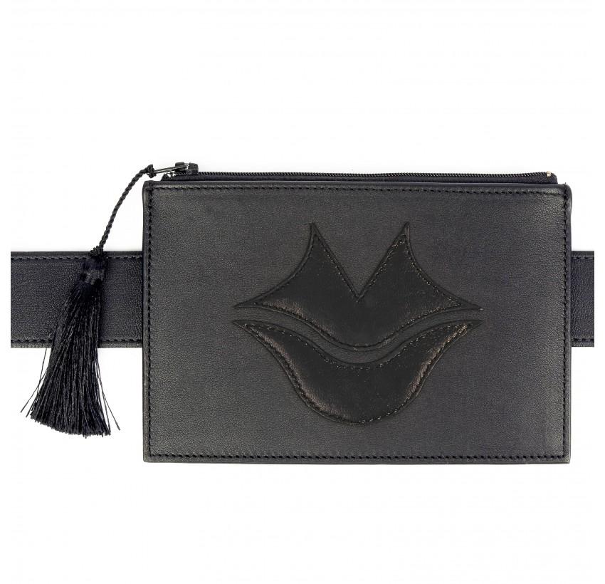 Black calfskin and lambskin leather women's clutch belt GLORIA BALENSI, front view with belt