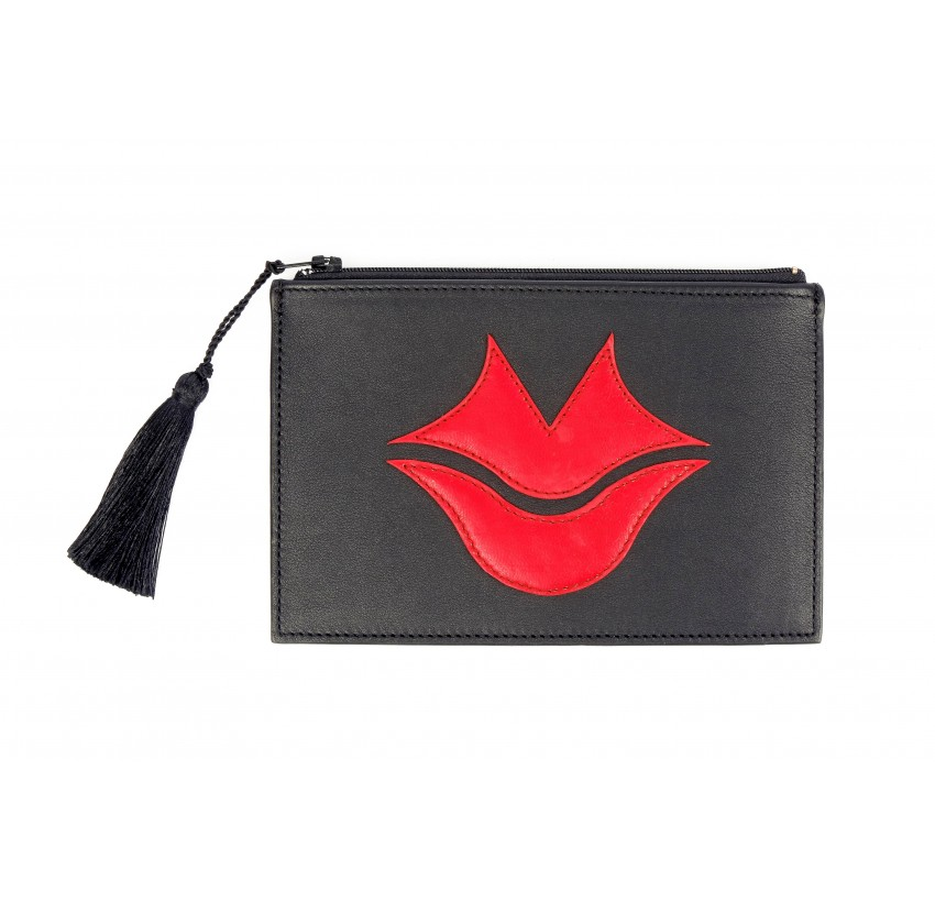 Black and red calfskin and lambskin leather women's clutch belt GLORIA BALENSI, front view