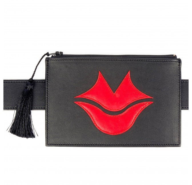 Black and red calfskin and lambskin leather women's clutch belt GLORIA BALENSI, front view with belt