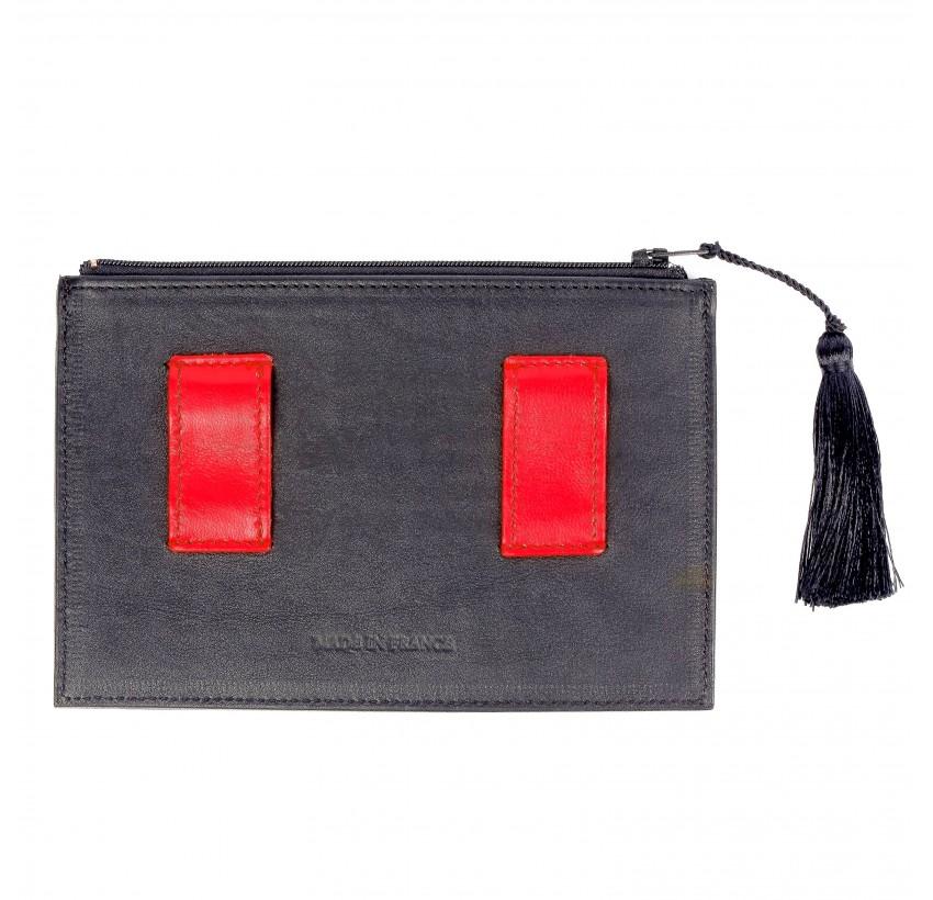 Black and red calfskin and lambskin leather women's clutch belt GLORIA BALENSI, back view