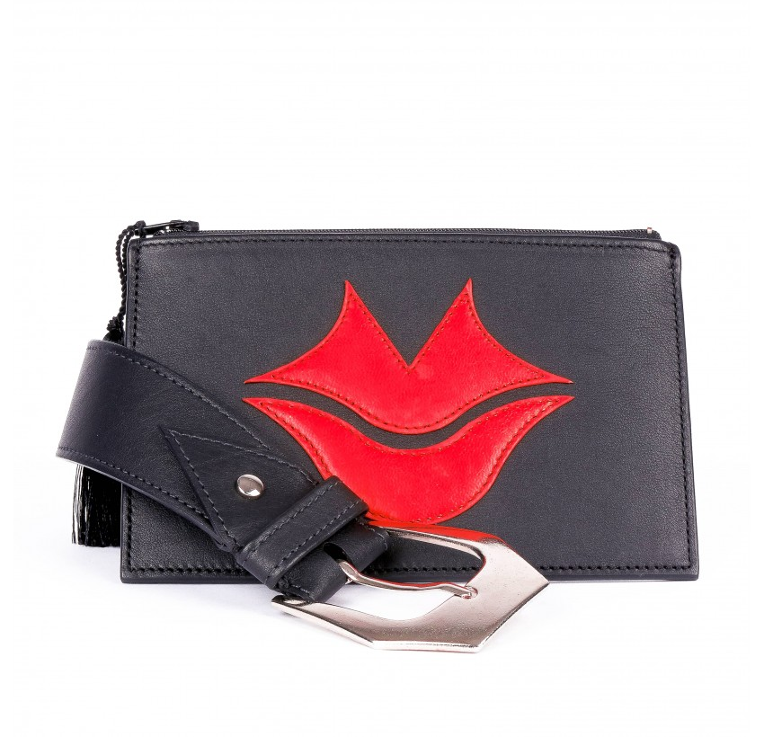 Black and red calf and lambskin leather women's clutch belt GLORIA BALENSI, front view with belt buckle
