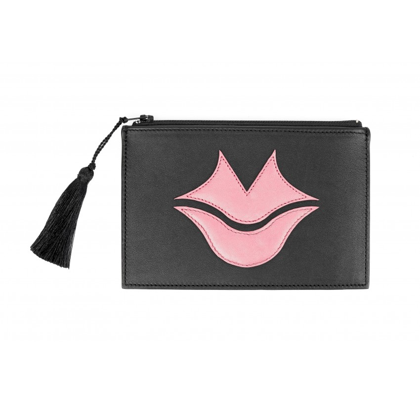 Black and pink calfskin and lambskin leather women's clutch belt GLORIA BALENSI, front view