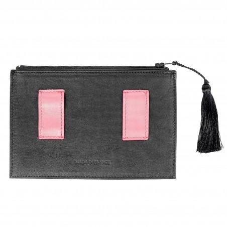 Black and pink calfskin and lambskin leather women's clutch belt GLORIA BALENSI, back view