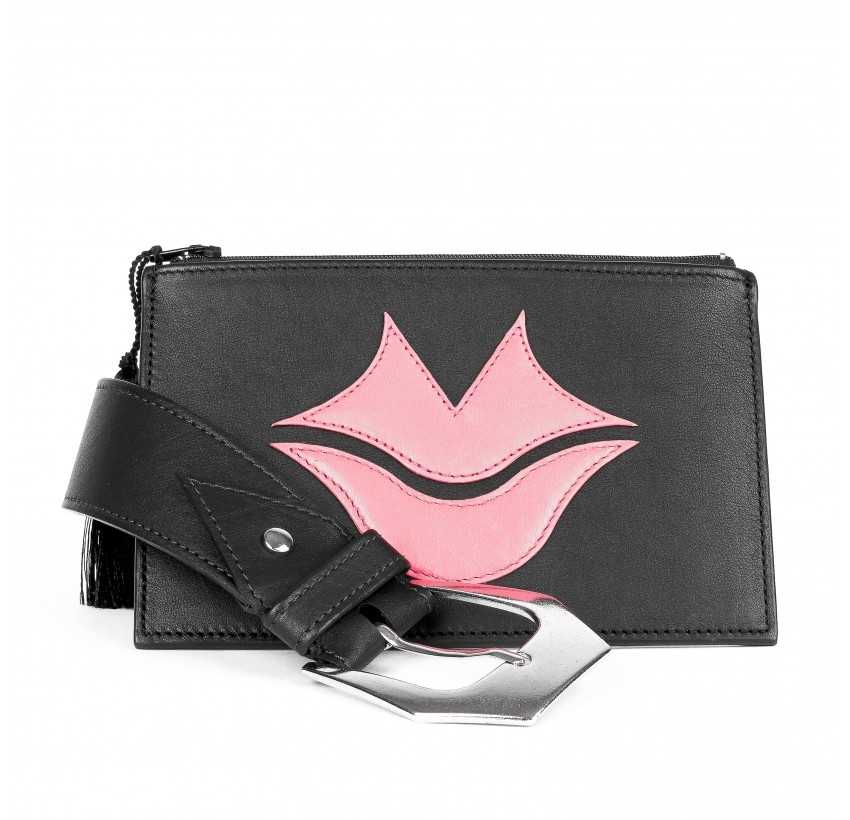Black and pink calf and lambskin leather women's clutch belt GLORIA BALENSI, front view with belt buckle