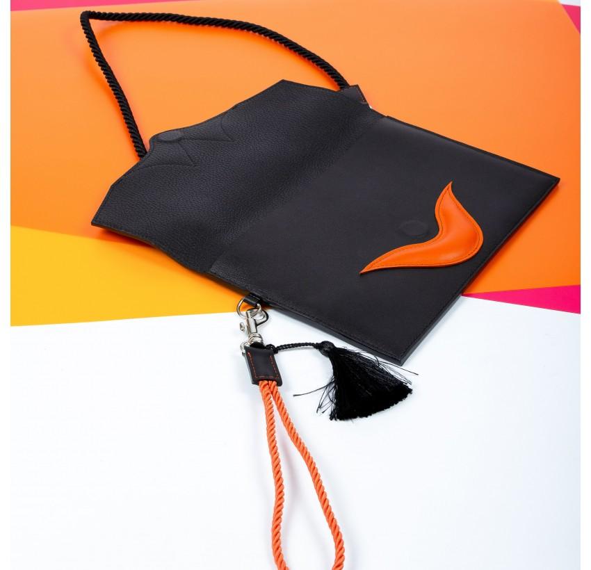 Women's leather clutch bag MILY Gloria Balensi in calfskin, bull calf and lambskin, open view