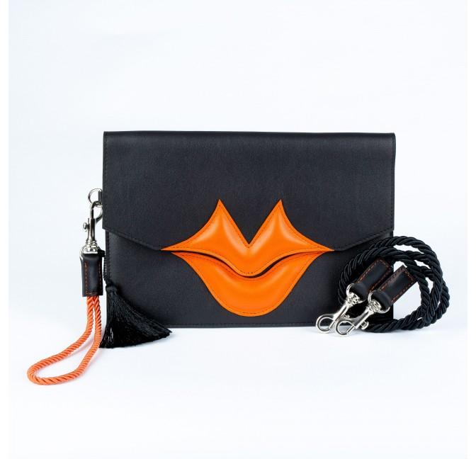 Pochette cuir Gloria Balensi noir et orange