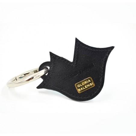 Porte-clés GLORIA BALENSI violet, brodé sur cuir, fait à la main, vue dos