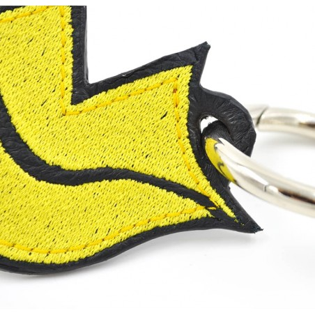 Yellow embroidered keychain on leather GLORIA BALENSI, handmade in France zoom view in front