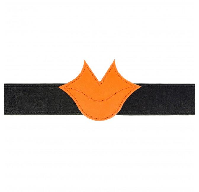 Ceinture Muse en cuir orange et noir