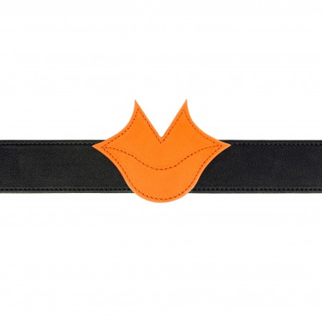 GLORIA BALENSI orange and black leather Muse women's belt, front view with belt