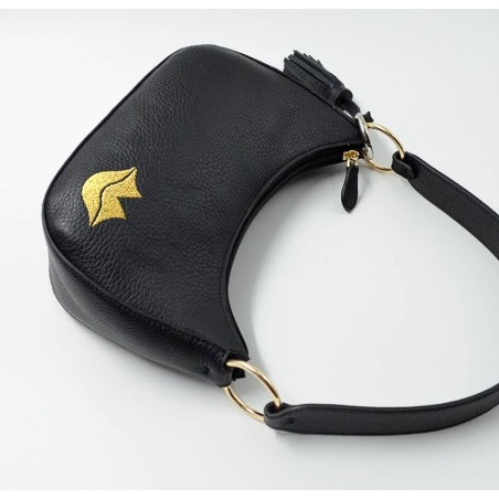 Baguette bag for women, shoulder bag MIA droé GLORIA BALENSI in French bull calf leather, lying down view