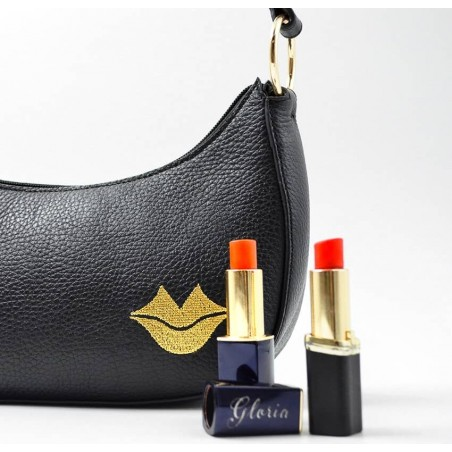 Baguette bag for woman, shoulder bag MIA droé GLORIA BALENSI in French bull calf leather, ambiance view with lipstick