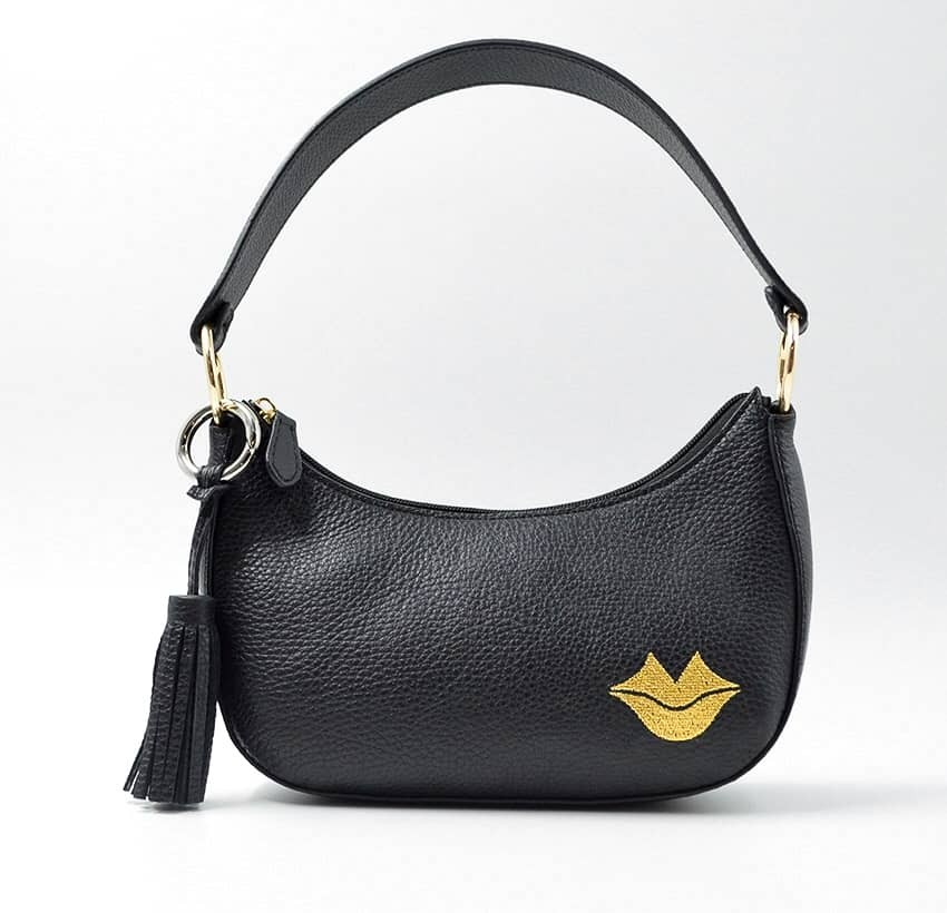 Baguette bag for women, shoulder bag MIA droé GLORIA BALENSI in French bull calf leather, front view