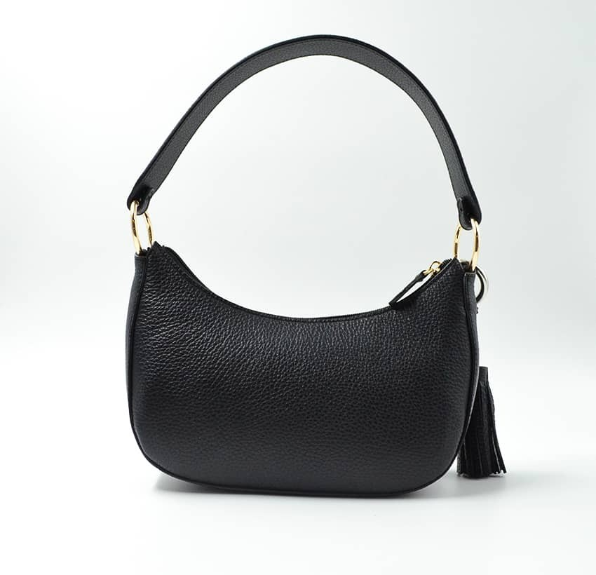 Baguette bag for women, shoulder bag MIA droé GLORIA BALENSI in French bull calf leather, back view