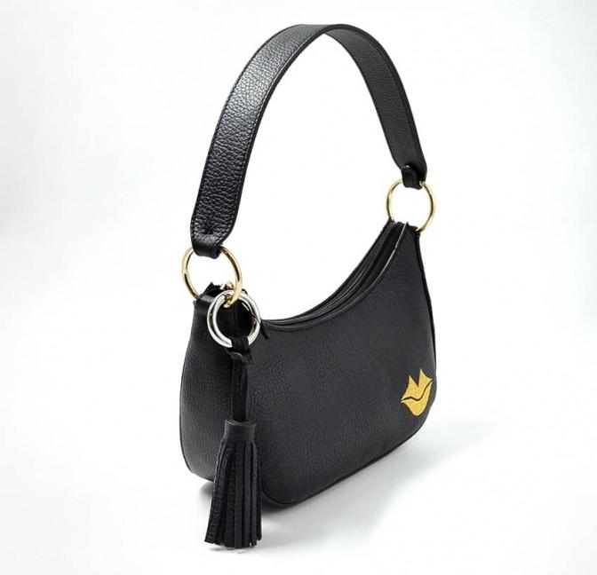 Baguette bag for women, shoulder bag MIA droé GLORIA BALENSI in French bull calf leather, profile view