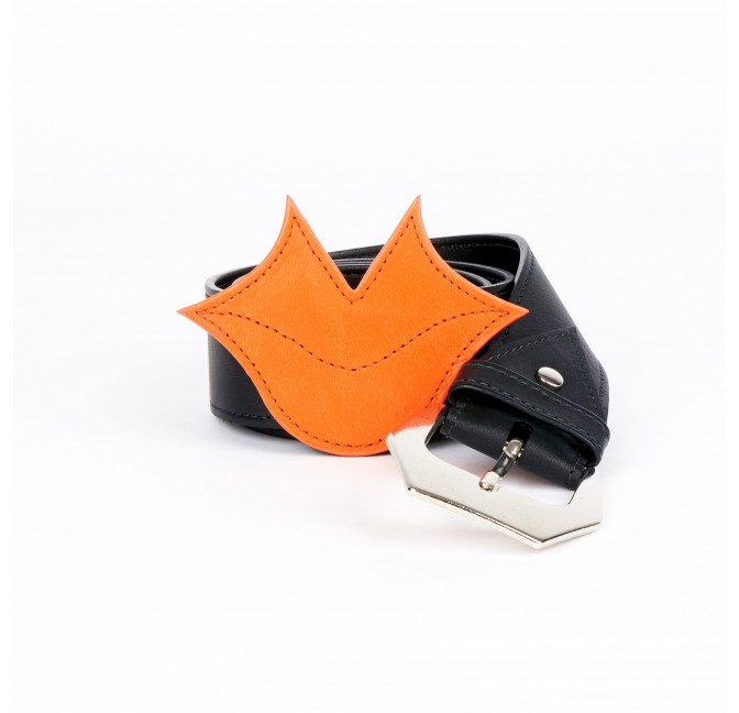 Muse women's belt in orange and black calf leather GLORIA BALENSI, front view with belt 2