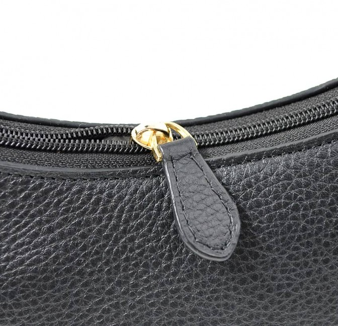 Baguette bag for woman, shoulder bag MIA droé GLORIA BALENSI in French bull calf leather, zoom view zip