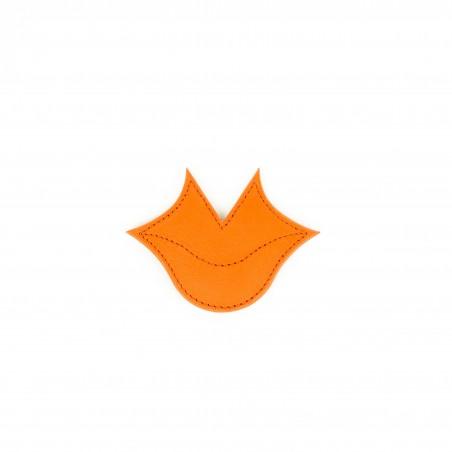 Ceinture femme Muse en cuir de veau GLORIA BALENSI orange et noir, vue passant ceinture