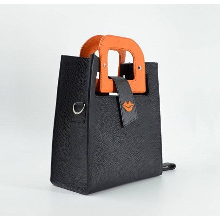 Black leather bag ARTISTE, orange handle and mouth embroidery , view 3    Gloria Balensi