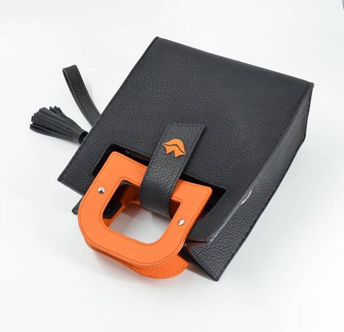 Sac en cuir noir ARTISTE, broderie bouche et anses orange, vue 4  Gloria Balensi