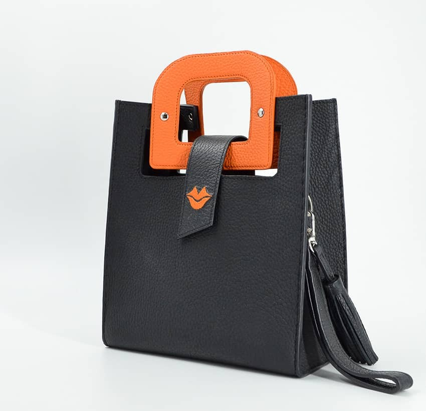 Black leather bag ARTISTE, orange handle and mouth embroidery , view 2    Gloria Balensi