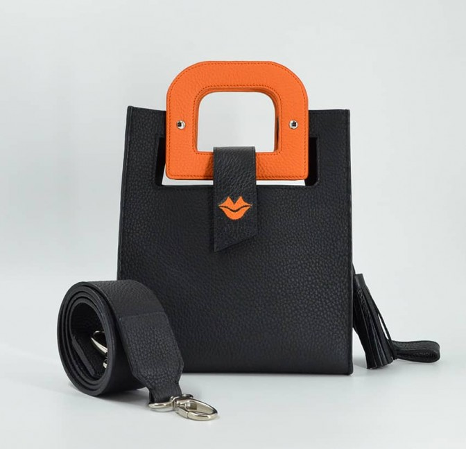Artist's handbag Orange GLORIA BALENSI in Taurillon leather, front view with shoulder strap.
