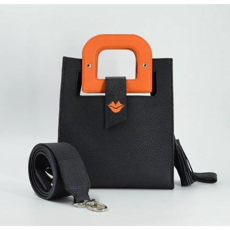 Sac en cuir noir ARTISTE, broderie bouche et anses orange, vue 5  Gloria Balensi