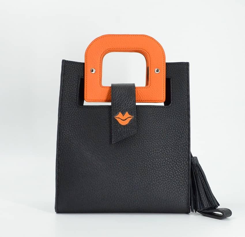 Sac en cuir noir ARTISTE, broderie bouche et anses orange, vue 1  Gloria Balensi