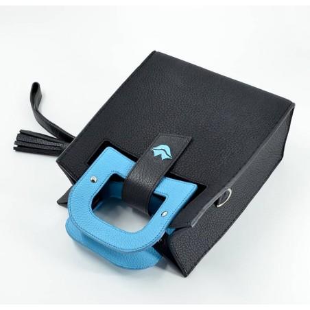 Sky blue artist's handbag GLORIA BALENSI in Taurillon leather, lying down view