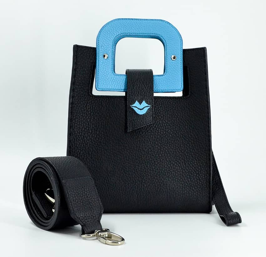 Sky blue Artist's handbag GLORIA BALENSI in Taurillon leather, front view with shoulder strap
