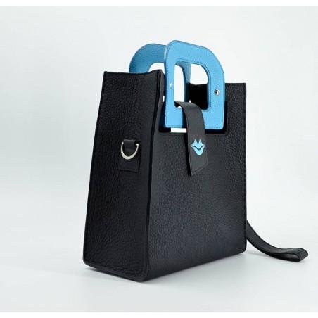 Sky blue artist's handbag GLORIA BALENSI in Taurillon leather, 3/4 view.