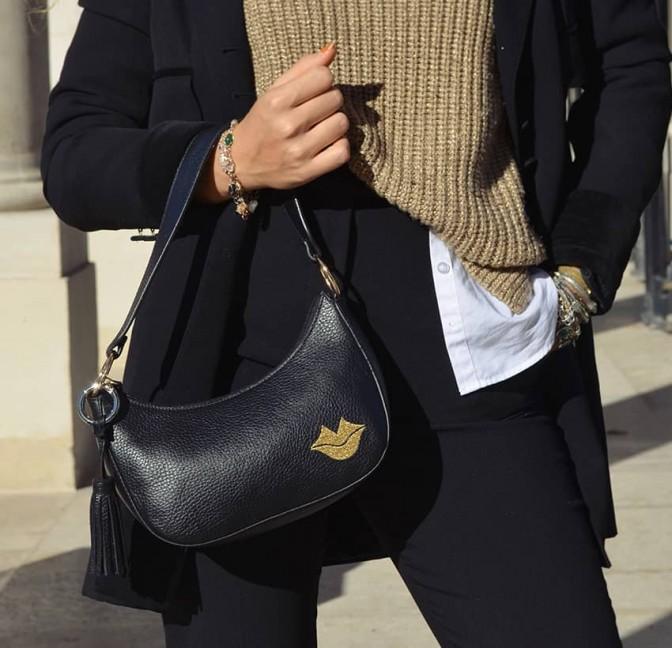 Sac baguette femme, porté épaule MIA droé GLORIA BALENSI en cuir de taurillon Français, vue look 1