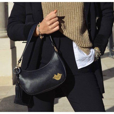 Baguette bag for woman, shoulder bag MIA gold GLORIA BALENSI in French bull calf leather, view look 1