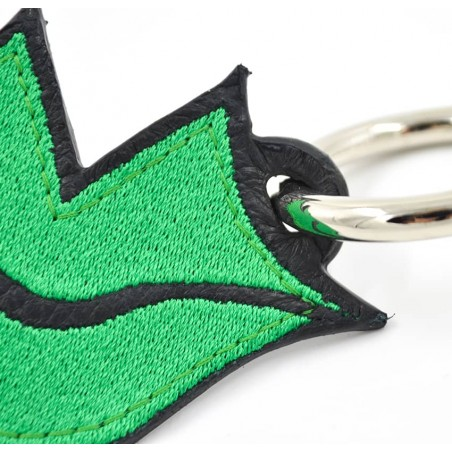 Green embroidered keychain on leather GLORIA BALENSI, handmade in France zoom view in front