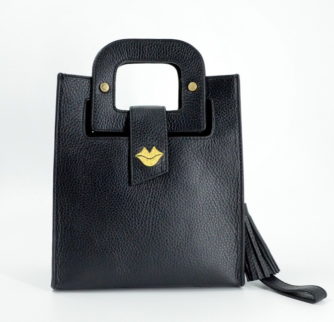 Black leather bag ARTISTE, gold mouth embroidery, view 1 | Gloria Balensi