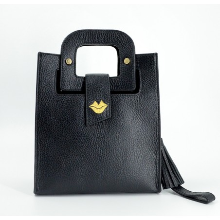 Black leather bag ARTISTE, gold mouth embroidery, view 1   Gloria Balensi